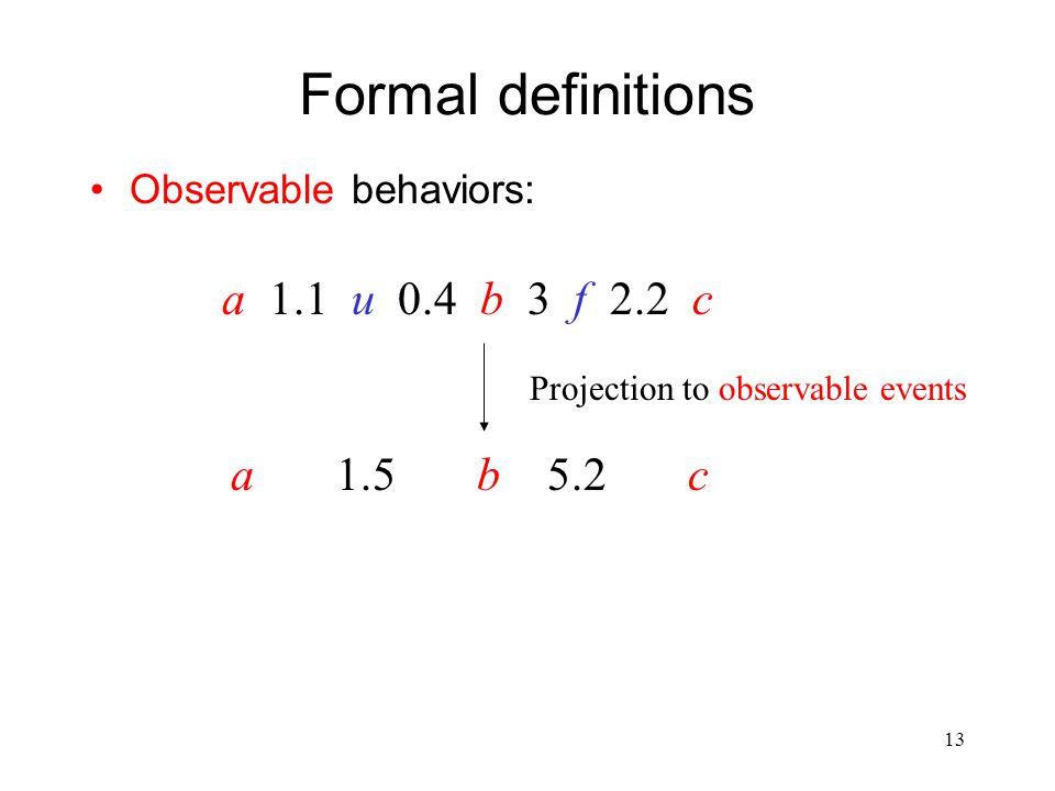 12 Formal definitions Timed behaviors over some alphabet  :  =  o   u a 1.1 u 0.4 b 3 f 2.2 c