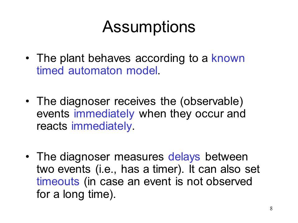 7 Timed fault diagnosis Plant (event + fault generator) Diagnoser (event reader) Observable events + delays Fault announcements