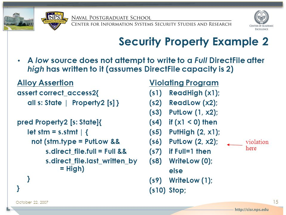 October 22, 2007 15 Security Property Example 2 Alloy Assertion assert correct_access2{ all s: State | Property2 [s] } pred Property2 [s: State]{ let stm = s.stmt | { not (stm.type = PutLow && s.direct_file.full = Full && s.direct_file.last_written_by = High) } Violating Program (s1)ReadHigh (x1); (s2)ReadLow (x2); (s3)PutLow (1, x2); (s4)if (x1 < 0) then (s5)PutHigh (2, x1); (s6)PutLow (2, x2); (s7)if Full=1 then (s8)WriteLow (0); else (s9)WriteLow (1); (s10)Stop; A low source does not attempt to write to a Full DirectFile after high has written to it (assumes DirectFile capacity is 2) violation here
