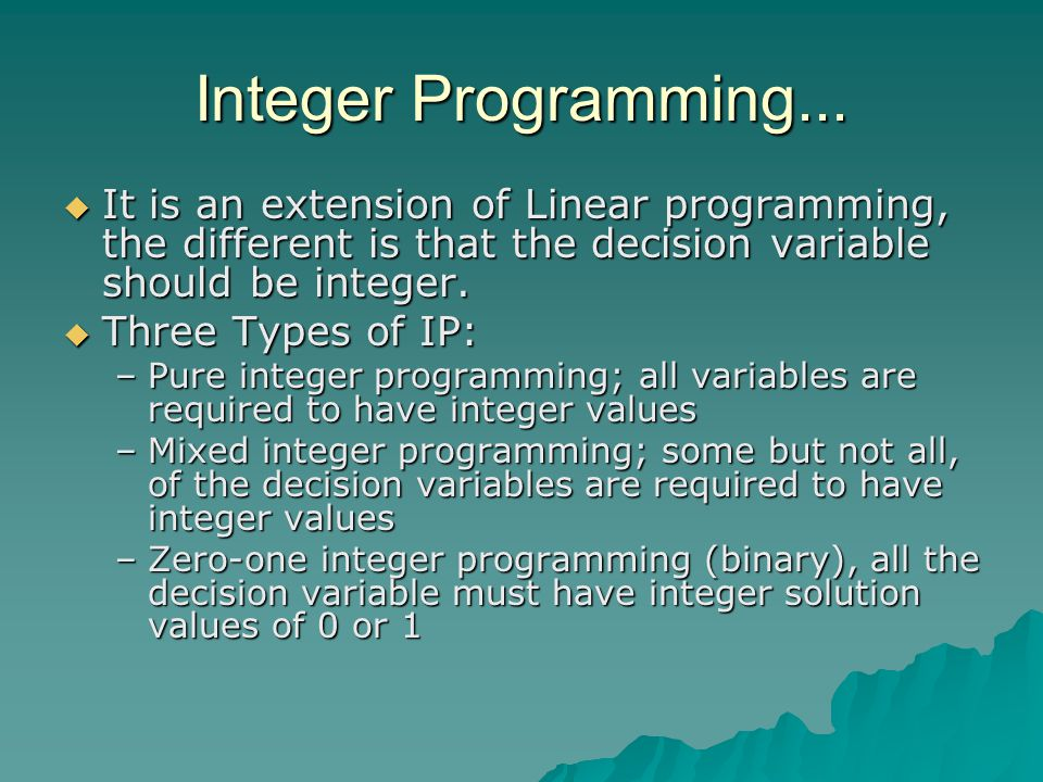 Integer Programming...