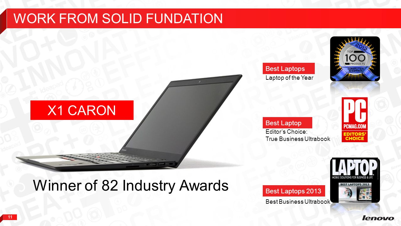 11 Laptop of the Year Best Laptops Best Business Ultrabook Editor's Choice: True Business Ultrabook Best Laptop Best Laptops 2013 Winner of 82 Industr