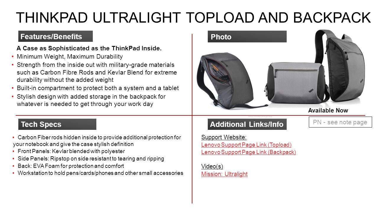 THINKPAD ULTRALIGHT TOPLOAD AND BACKPACK A Case as Sophisticated as the ThinkPad Inside. Minimum Weight, Maximum Durability Strength from the inside o