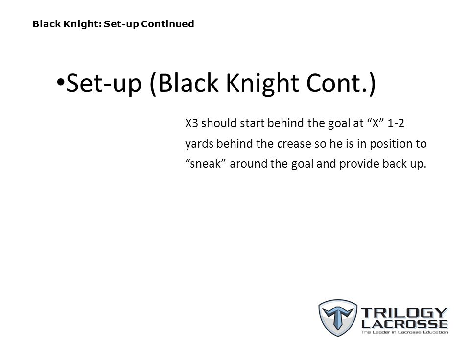 Black Knight: Set-up Continued X3 should start behind the goal at X 1-2 yards behind the crease so he is in position to sneak around the goal and provide back up.