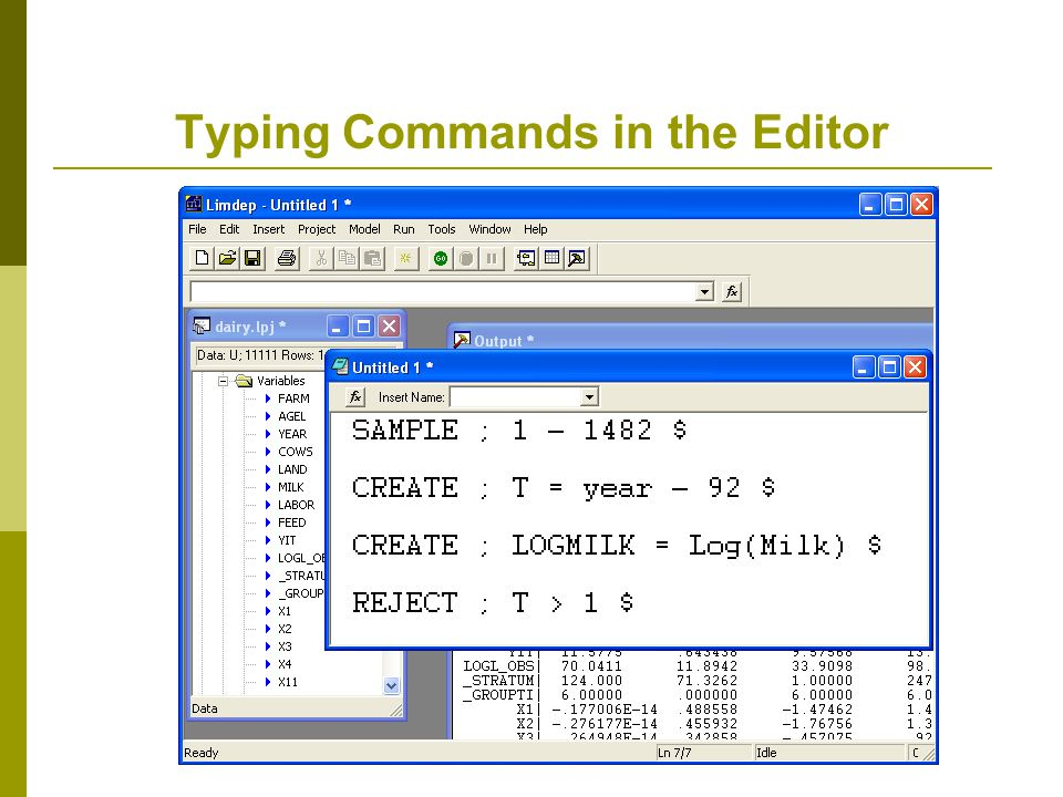 Typing Commands in the Editor
