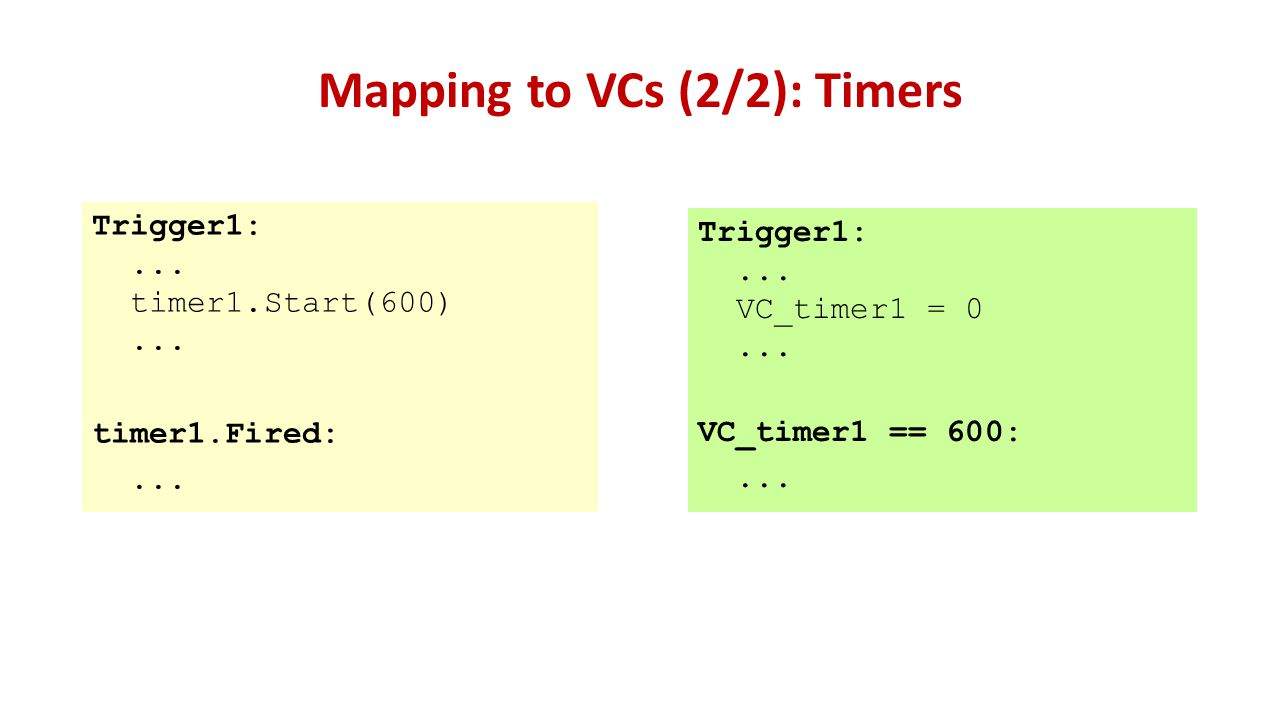 Mapping to VCs (2/2): Timers Trigger1:... timer1.Start(600)...