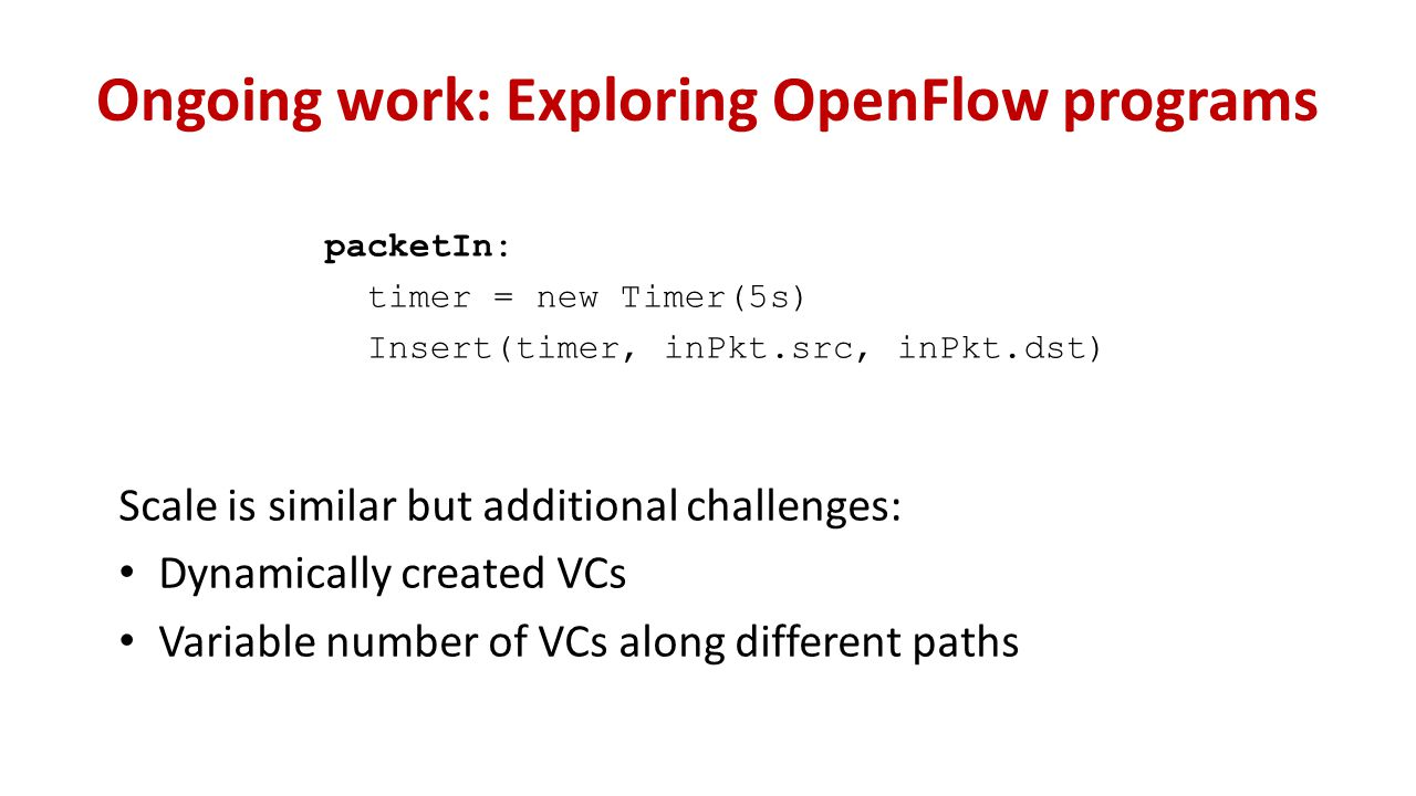 Ongoing work: Exploring OpenFlow programs Scale is similar but additional challenges: Dynamically created VCs Variable number of VCs along different paths packetIn: timer = new Timer(5s) Insert(timer, inPkt.src, inPkt.dst)