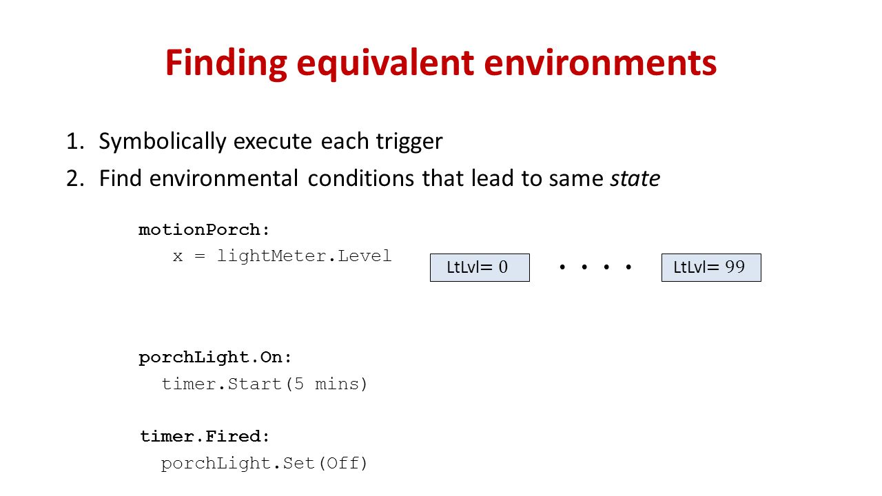 Finding equivalent environments motionPorch: x = lightMeter.Level porchLight.On: timer.Start(5 mins) timer.Fired: porchLight.Set(Off) 1.Symbolically execute each trigger 2.Find environmental conditions that lead to same state