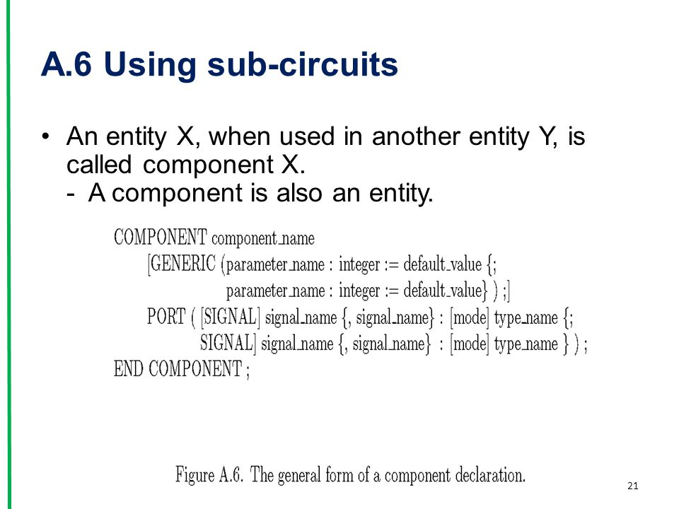 A.6 Using sub-circuits An entity X, when used in another entity Y, is called component X.