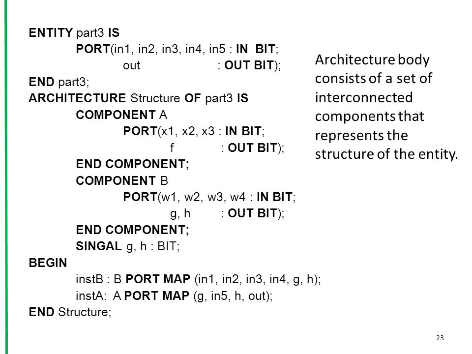 ENTITY part3 IS PORT(in1, in2, in3, in4, in5 : IN BIT; out: OUT BIT); END part3; ARCHITECTURE Structure OF part3 IS COMPONENT A PORT(x1, x2, x3 : IN BIT; f : OUT BIT); END COMPONENT; COMPONENT B PORT(w1, w2, w3, w4 : IN BIT; g, h : OUT BIT); END COMPONENT; SINGAL g, h : BIT; BEGIN instB : B PORT MAP (in1, in2, in3, in4, g, h); instA: A PORT MAP (g, in5, h, out); END Structure; 23 Architecture body consists of a set of interconnected components that represents the structure of the entity.