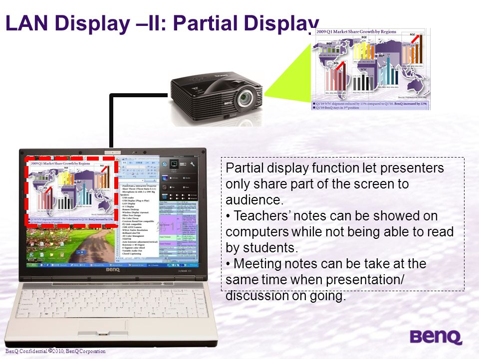BenQ Confidential  2010, BenQ Corporation LAN Display –II: Partial Display Partial display function let presenters only share part of the screen to a