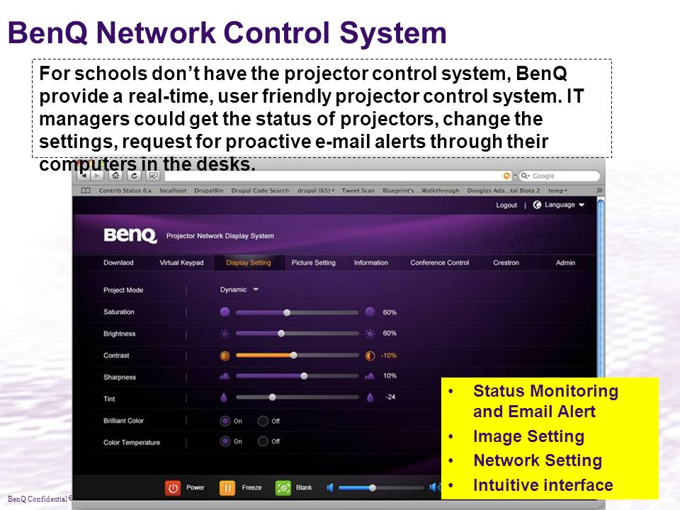 BenQ Confidential  2010, BenQ Corporation BenQ Network Control System Status Monitoring and Email Alert Image Setting Network Setting Intuitive inter