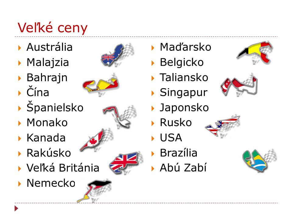 Veľké ceny  Austrália  Malajzia  Bahrajn  Čína  Španielsko  Monako  Kanada  Rakúsko  Veľká Británia  Nemecko  Maďarsko  Belgicko  Talians