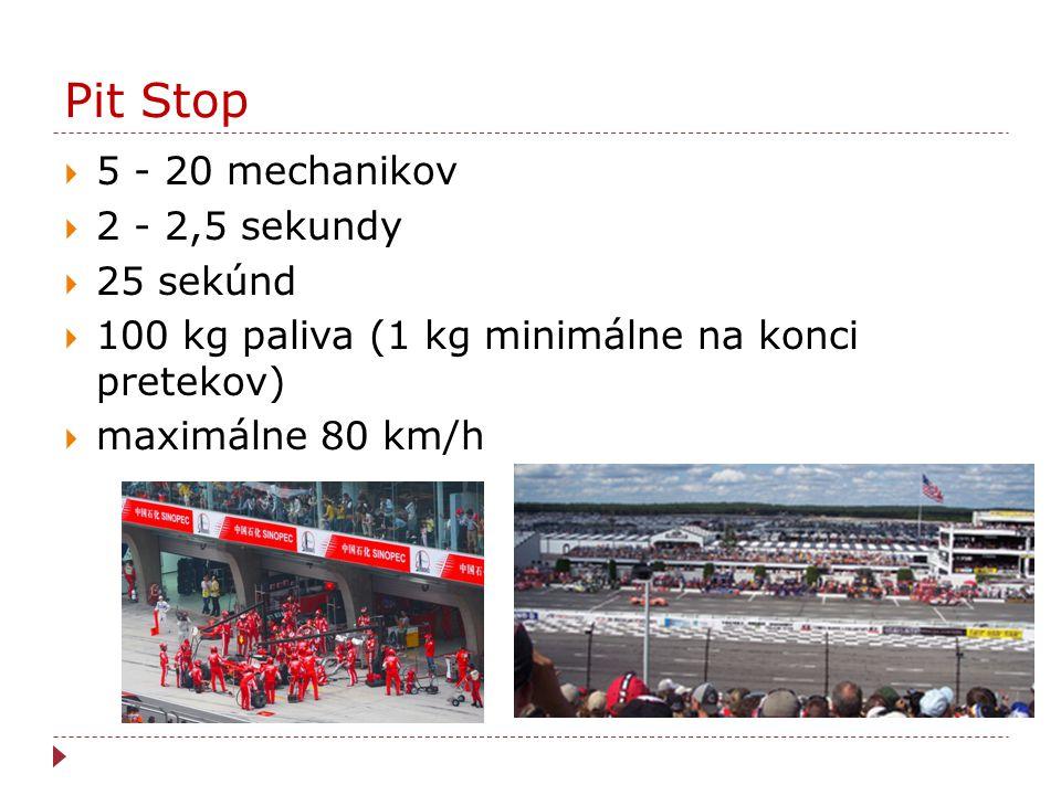 Pit Stop  5 - 20 mechanikov  2 - 2,5 sekundy  25 sekúnd  100 kg paliva (1 kg minimálne na konci pretekov)  maximálne 80 km/h
