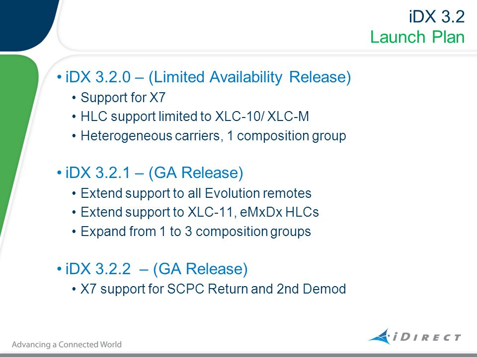 iDX 3.2 Launch Plan iDX 3.2.0 – (Limited Availability Release) Support for X7 HLC support limited to XLC-10/ XLC-M Heterogeneous carriers, 1 compositi