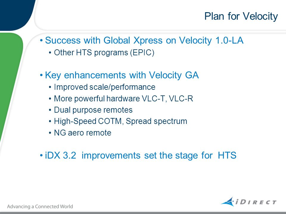 Plan for Velocity Success with Global Xpress on Velocity 1.0-LA Other HTS programs (EPIC) Key enhancements with Velocity GA Improved scale/performance
