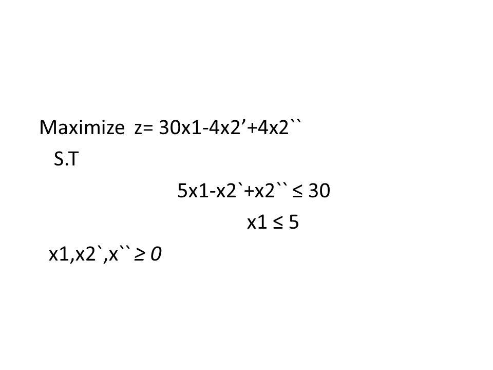 Maximize z= 30x1-4x2'+4x2`` S.T 5x1-x2`-x2`` +s1=30 x1 +s2 = 5 x1,x2`,x`` ≥ 0 z- 30x1+4x2'-4x2``=0
