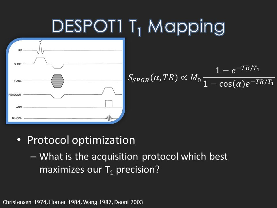 Protocol optimization – What is the acquisition protocol which best maximizes our T 1 precision.
