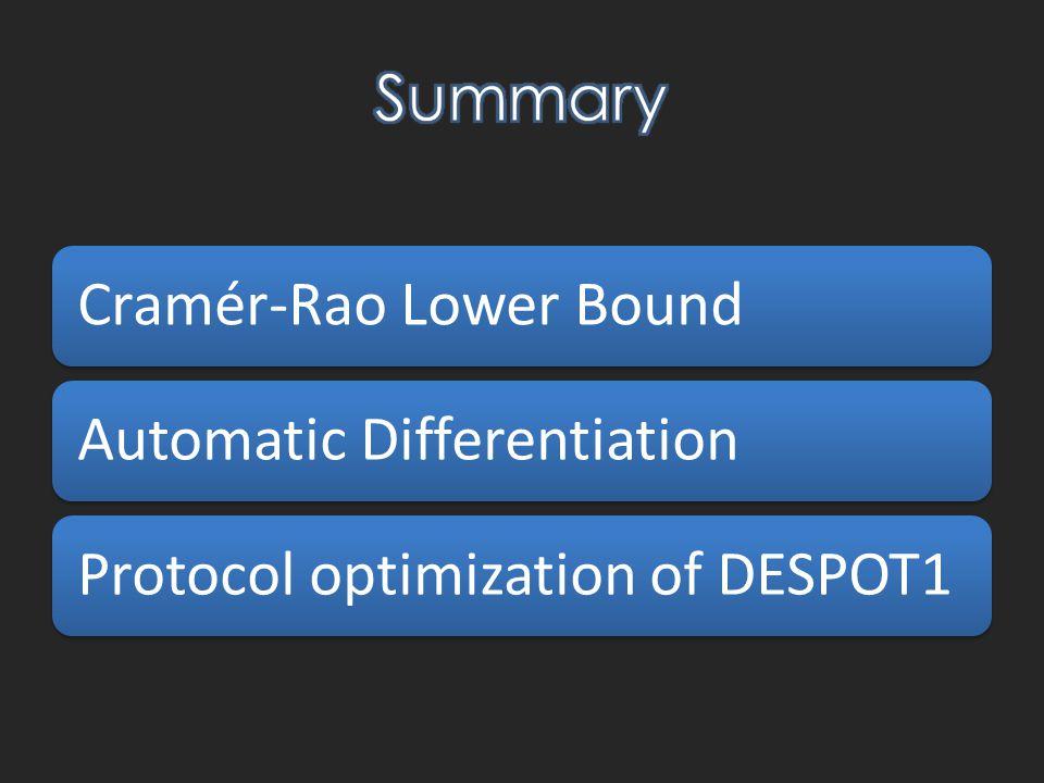 Cramér-Rao Lower BoundAutomatic DifferentiationProtocol optimization of DESPOT1