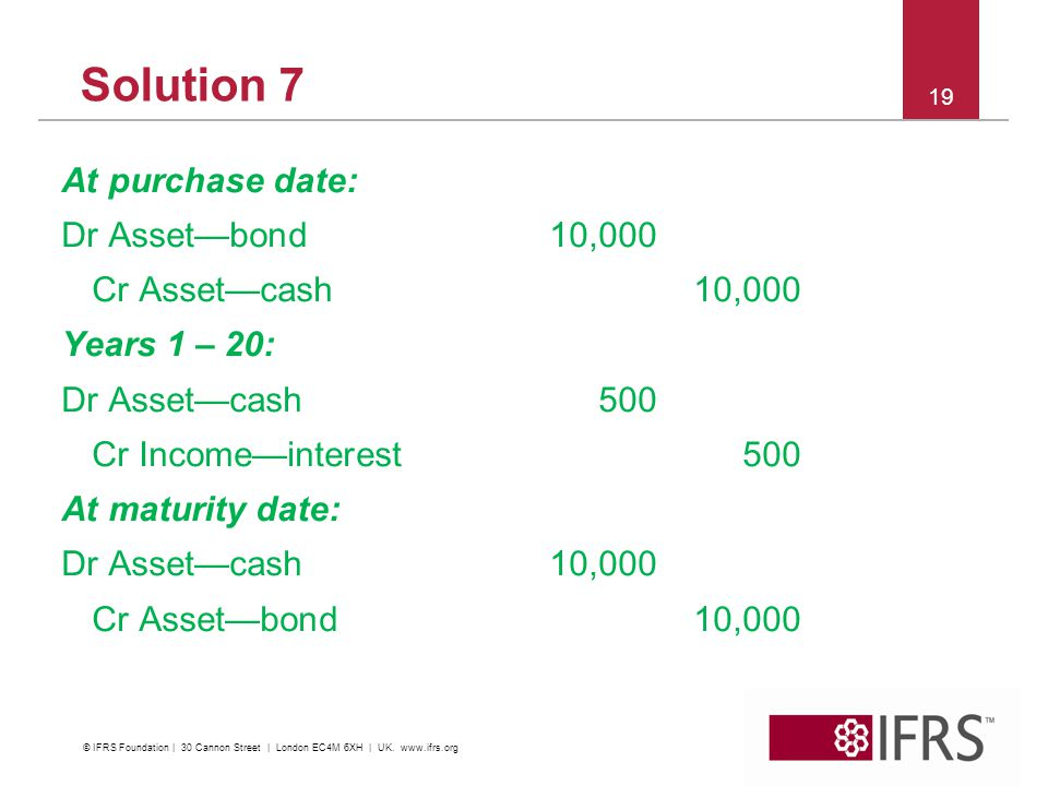 Solution 7 At purchase date: Dr Asset—bond10,000 Cr Asset—cash10,000 Years 1 – 20: Dr Asset—cash500 Cr Income—interest500 At maturity date: Dr Asset—cash10,000 Cr Asset—bond10, © IFRS Foundation | 30 Cannon Street | London EC4M 6XH | UK.