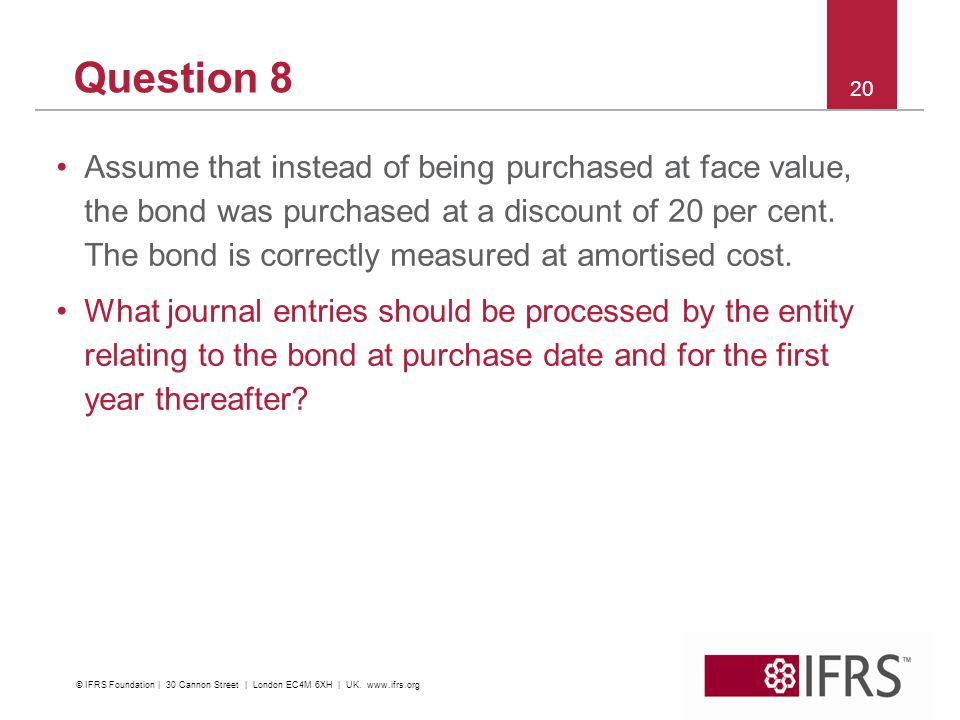Question 8 Assume that instead of being purchased at face value, the bond was purchased at a discount of 20 per cent.