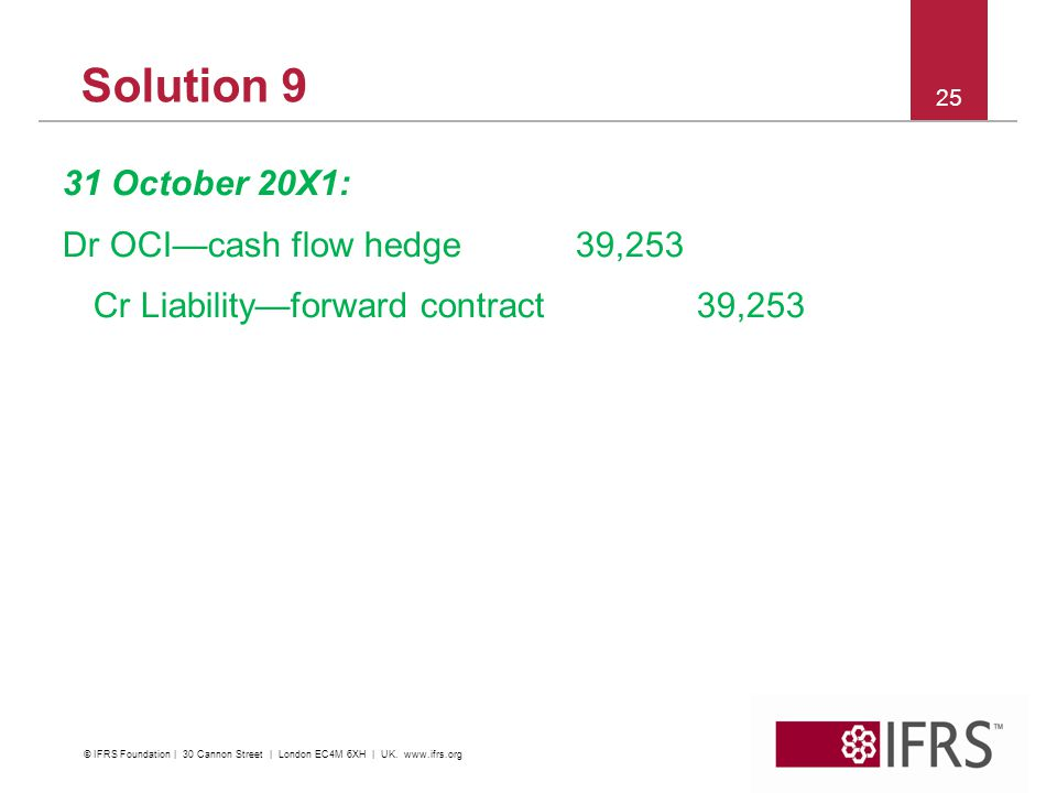 Solution 9 31 October 20X1: Dr OCI—cash flow hedge39,253 Cr Liability—forward contract39, © IFRS Foundation | 30 Cannon Street | London EC4M 6XH | UK.
