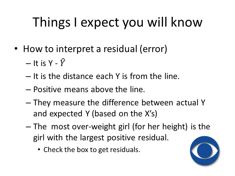 Things I expect you will know