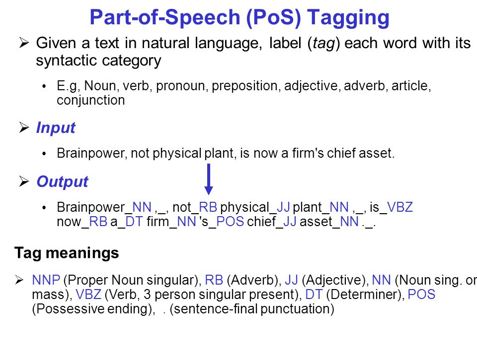 Part-of-Speech (PoS) Tagging  Given a text in natural language, label (tag) each word with its syntactic category E.g, Noun, verb, pronoun, preposition, adjective, adverb, article, conjunction  Input Brainpower, not physical plant, is now a firm s chief asset.
