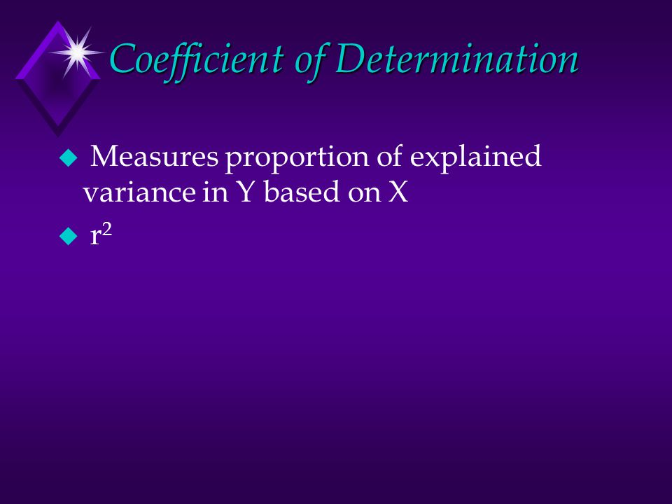 Coefficient of Determination u Measures proportion of explained variance in Y based on X u r 2