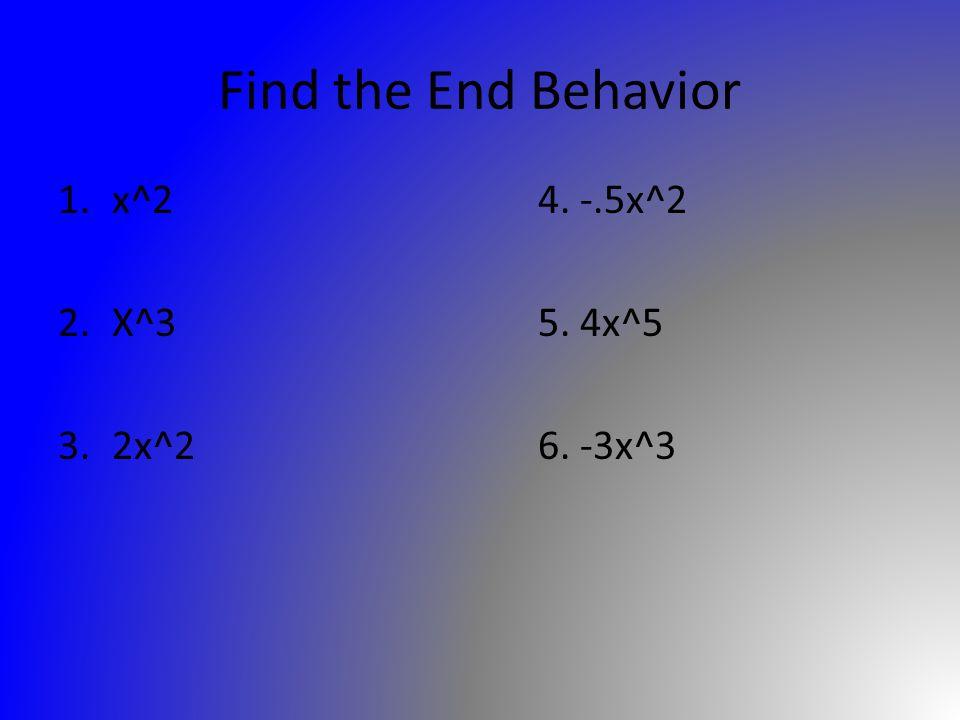 Find the End Behavior 1.x^24. -.5x^2 2.X^35. 4x^5 3.2x^26. -3x^3