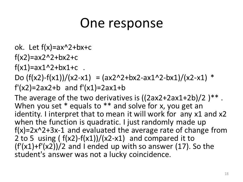 One response ok. Let f(x)=ax^2+bx+c f(x2)=ax2^2+bx2+c f(x1)=ax1^2+bx1+c.
