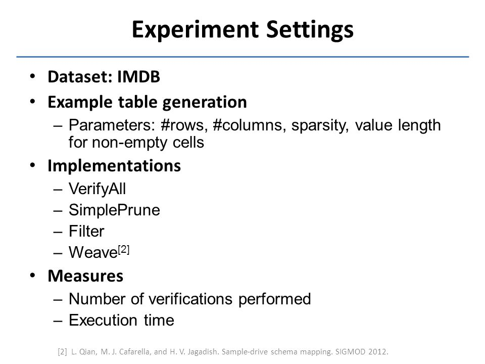 Experiment Settings Dataset: IMDB Example table generation –Parameters: #rows, #columns, sparsity, value length for non-empty cells Implementations –V