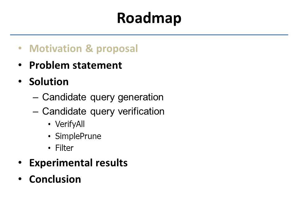 Roadmap Motivation & proposal Problem statement Solution –Candidate query generation –Candidate query verification VerifyAll SimplePrune Filter Experi