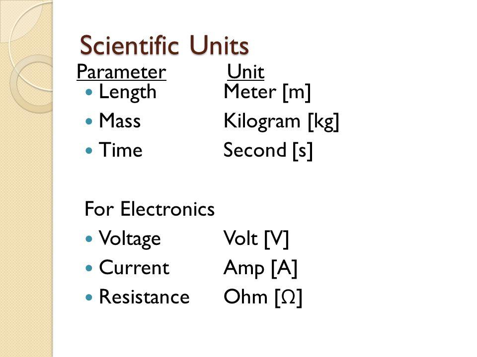Scientific Units Length Mass Time For Electronics Voltage Current Resistance ParameterUnit Meter [m] Kilogram [kg] Second [s] Volt [V] Amp [A] Ohm [ Ω