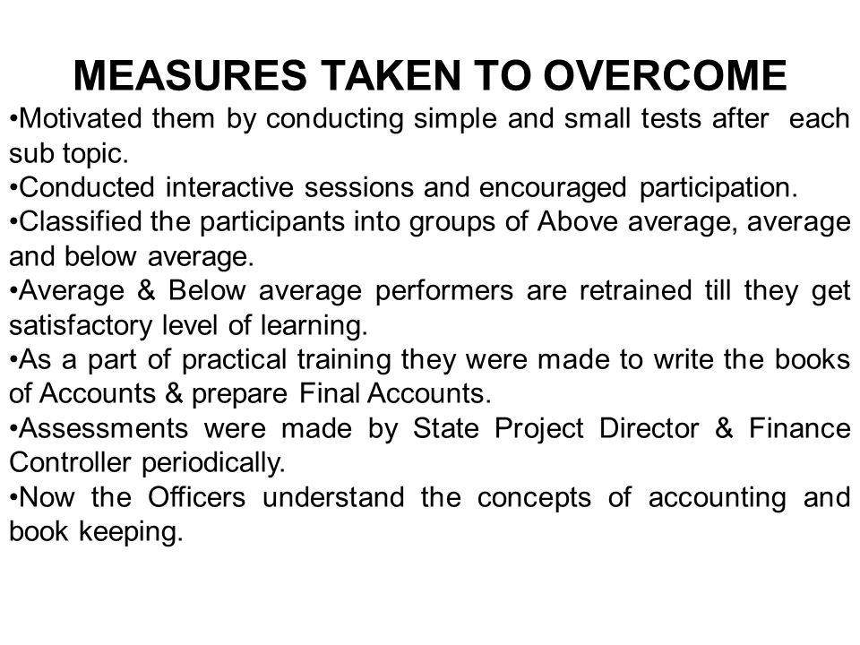 MEASURES TAKEN TO OVERCOME Motivated them by conducting simple and small tests after each sub topic.
