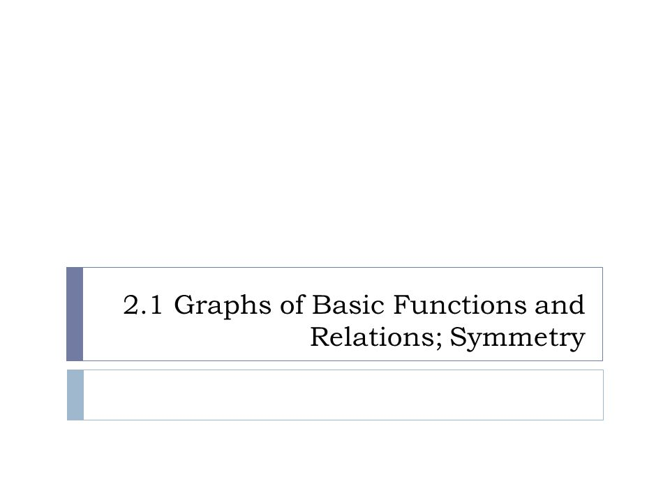 2.1 Graphs of Basic Functions and Relations; Symmetry