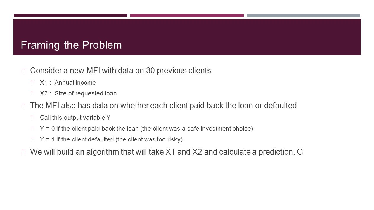 Framing the Problem Consider a new MFI with data on 30 previous clients: X1 : Annual income X2 : Size of requested loan The MFI also has data on wheth