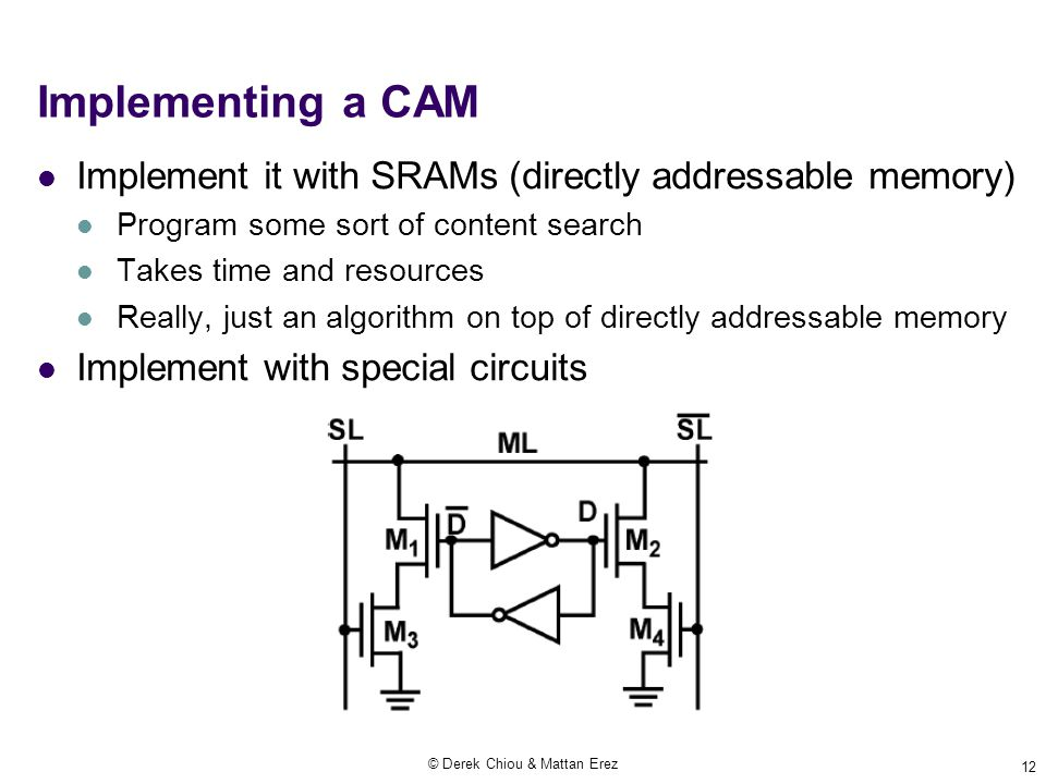 © Derek Chiou & Mattan Erez 12 Implementing a CAM Implement it with SRAMs (directly addressable memory) Program some sort of content search Takes time and resources Really, just an algorithm on top of directly addressable memory Implement with special circuits