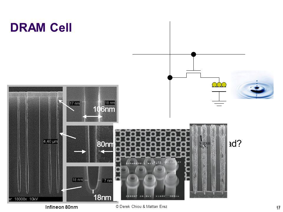 © Derek Chiou & Mattan Erez 17 DRAM Cell What happens when you read? Infineon 80nm 17
