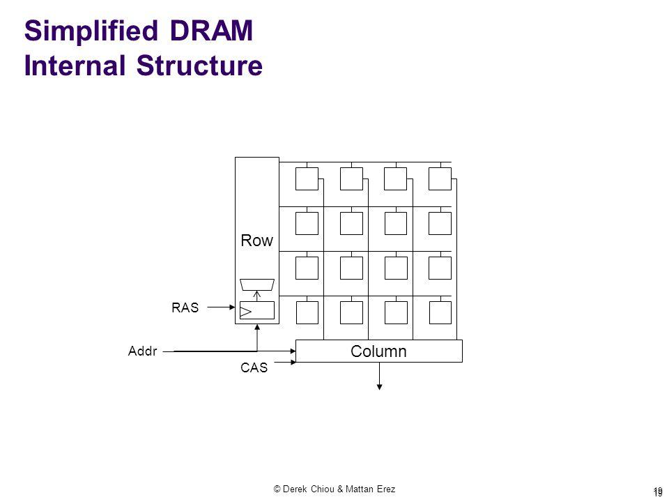 © Derek Chiou & Mattan Erez 19 Simplified DRAM Internal Structure Row Column RAS CAS Addr 19