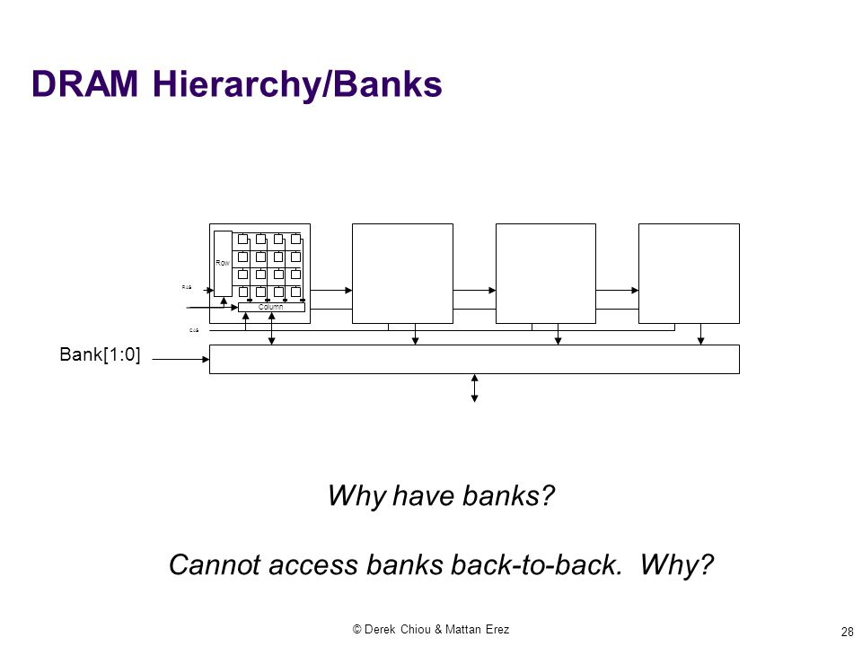 © Derek Chiou & Mattan Erez 28 DRAM Hierarchy/Banks Row Column RAS CAS Bank[1:0] Why have banks? Cannot access banks back-to-back. Why?