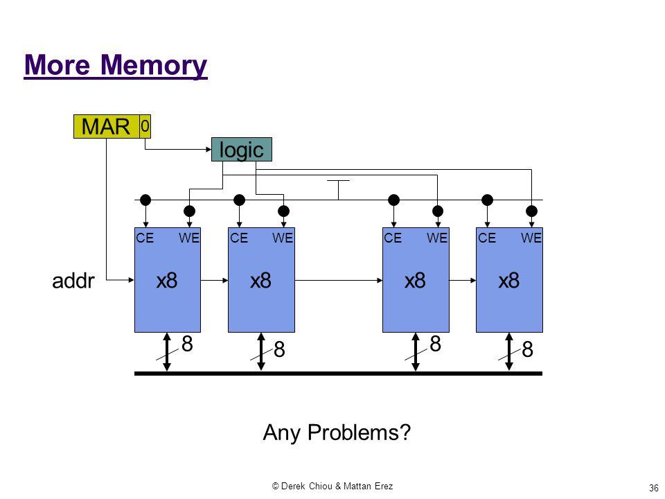 © Derek Chiou & Mattan Erez 36 More Memory x8 8 8 addr MAR CE WE 0 logic x8 8 8 CE WE Any Problems?