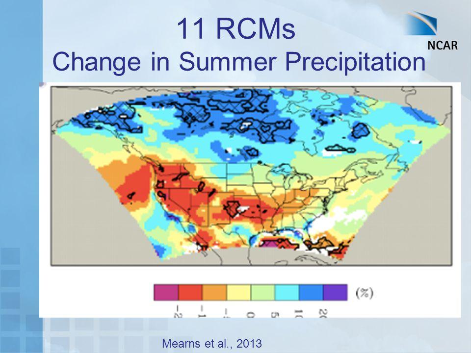 11 RCMs Change in Summer Precipitation Mearns et al., 2013