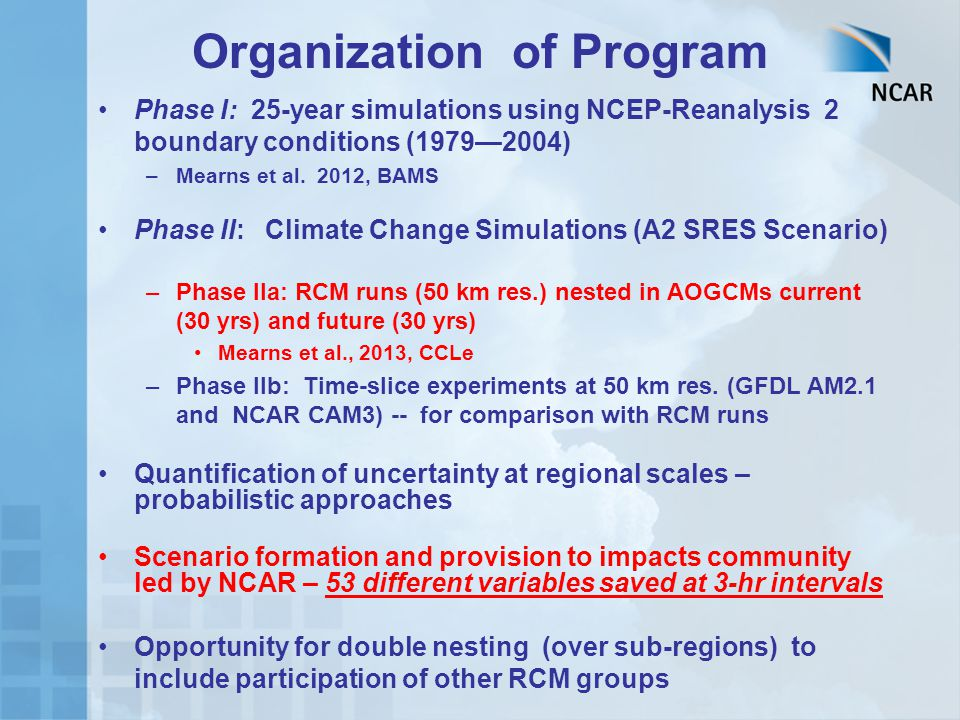 Organization of Program Phase I: 25-year simulations using NCEP-Reanalysis 2 boundary conditions (1979—2004) –Mearns et al.
