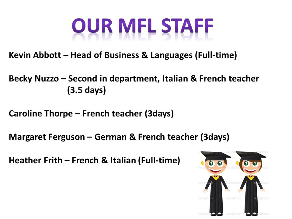 Kevin Abbott – Head of Business & Languages (Full-time) Becky Nuzzo – Second in department, Italian & French teacher (3.5 days) Caroline Thorpe – French teacher (3days) Margaret Ferguson – German & French teacher (3days) Heather Frith – French & Italian (Full-time)