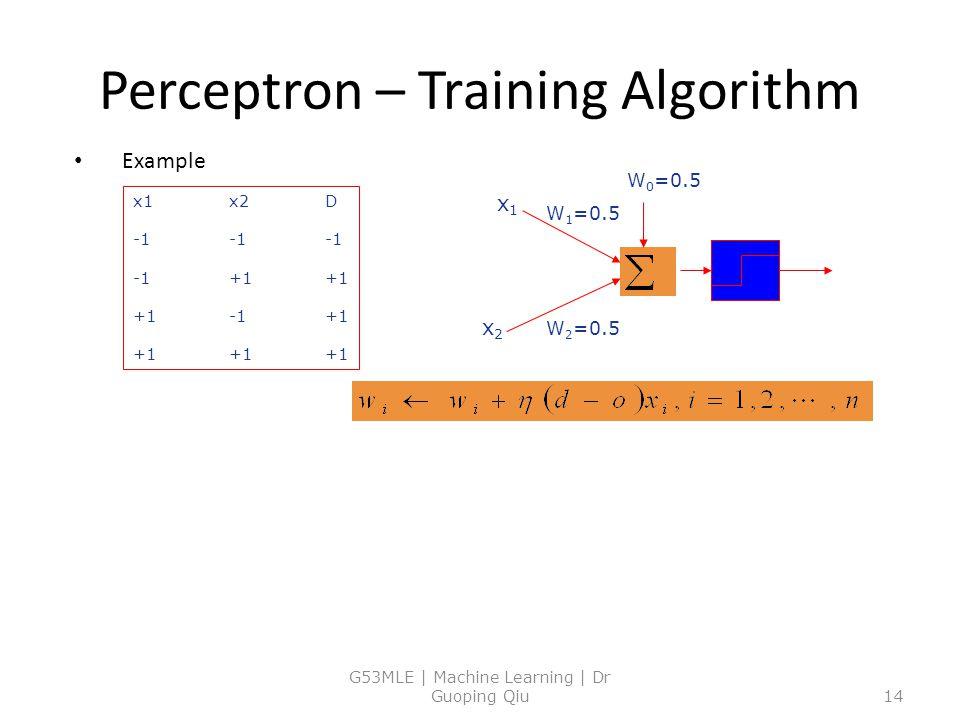 Perceptron – Training Algorithm Example G53MLE | Machine Learning | Dr Guoping Qiu14 W 0 =0.5 W 1 =0.5 W 2 =0.5 x1x1 x2x2 x1x2D -1-1-1 -1+1+1 +1-1+1 +1+1+1