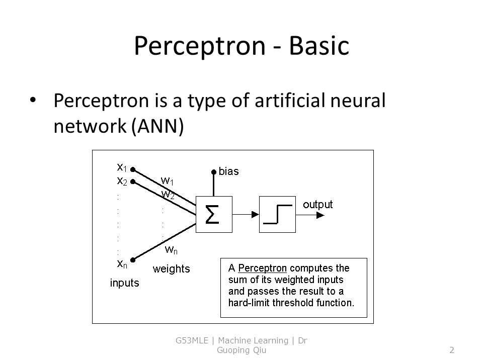 Perceptron - Basic Perceptron is a type of artificial neural network (ANN) G53MLE | Machine Learning | Dr Guoping Qiu2
