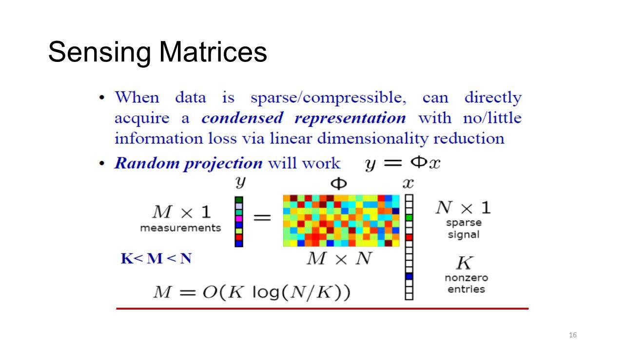 Sensing Matrices 16
