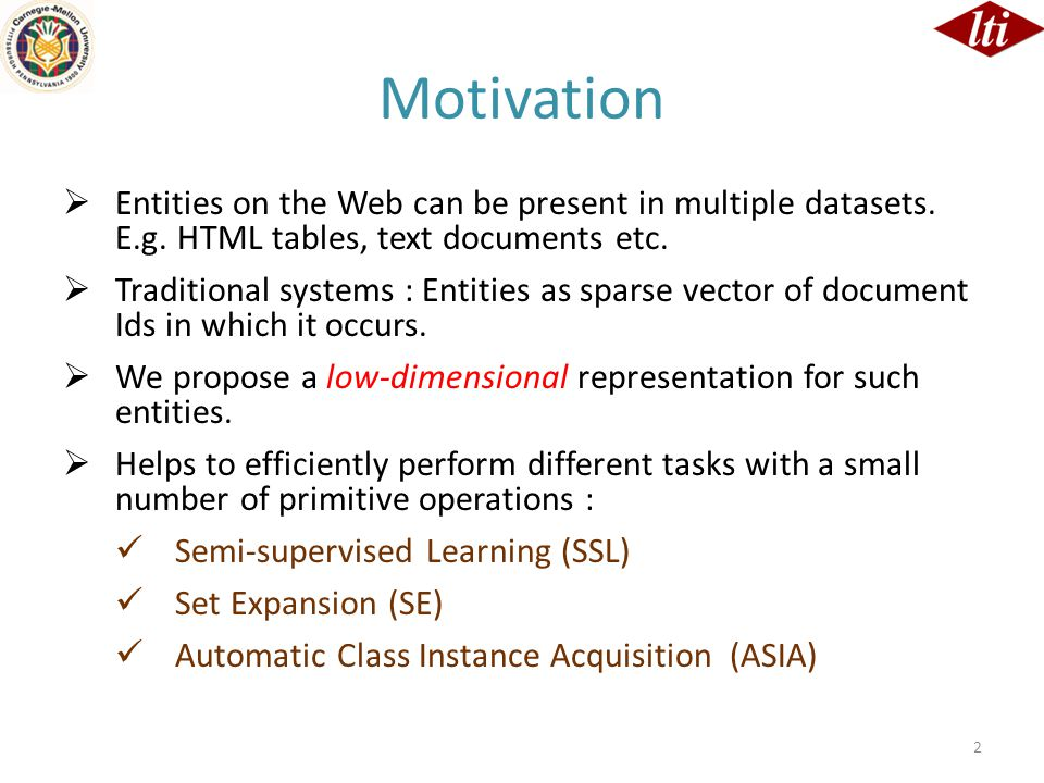 Motivation  Entities on the Web can be present in multiple datasets. E.g. HTML tables, text documents etc.  Traditional systems : Entities as sparse