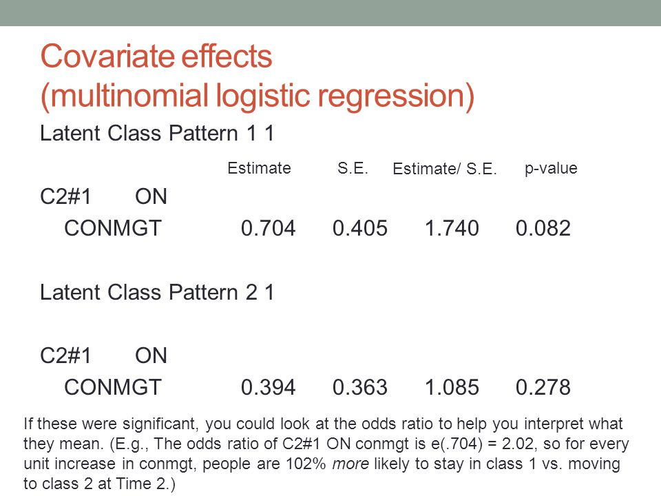 Covariate effects (multinomial logistic regression) Latent Class Pattern 1 1 C2#1 ON CONMGT 0.704 0.405 1.740 0.082 Latent Class Pattern 2 1 C2#1 ON C