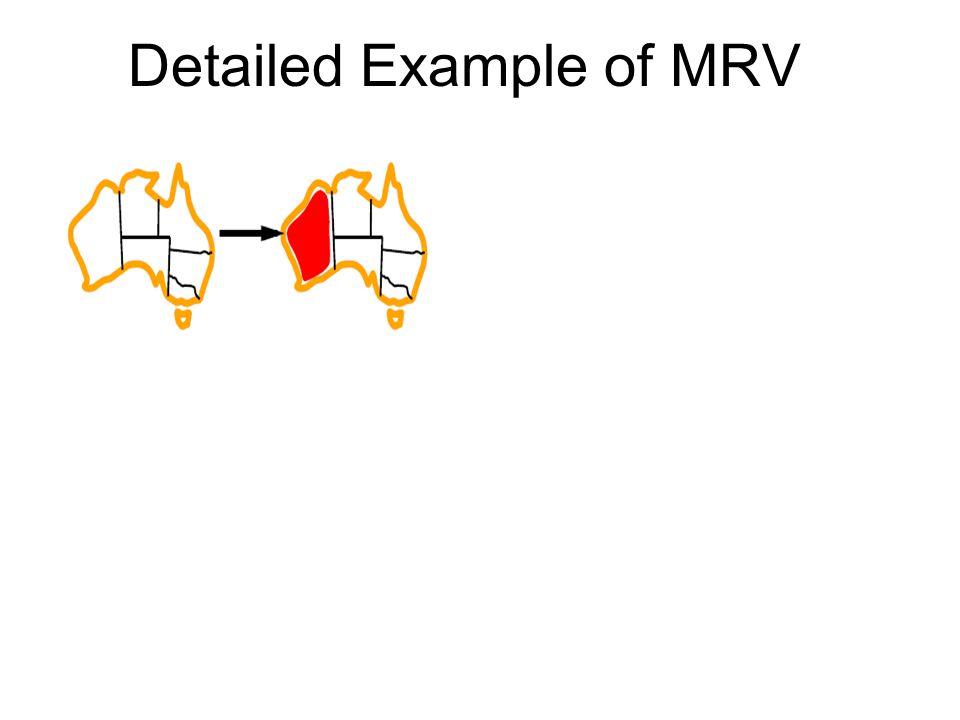 Initially, all regions have MRV = 3 Choose one randomly (e.g., WA=red) Do Forward Checking (next topic) MRV=3 MRV=2